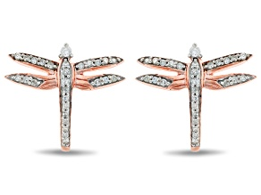 Pre-Owned Enchanted Disney Mulan Dragonfly J-Hoop Earrings White Diamond 14k Rose Gold Over Silver 0