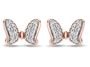 Pre-Owned Mickey & Friends Minnie Mouse Bow Stud Earrings White Diamond 14k Rose Gold Over Silver 0.