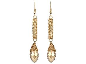 Pre-Owned Champagne Crystal Gold Tone Dangle Earrings