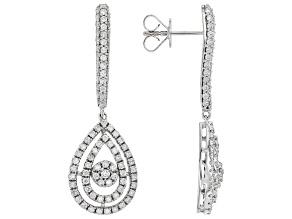 Pre-Owned White Diamond 10K White Gold Dangle Earrings 1.50ctw