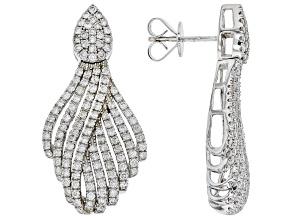 Pre-Owned White Diamond 10K White Gold Statement Earrings 2.00ctw