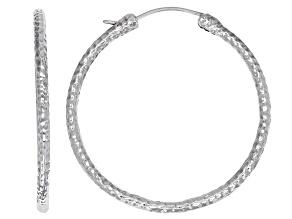 Pre-Owned 46mm Sterling Silver Hammered Hoop Earrings