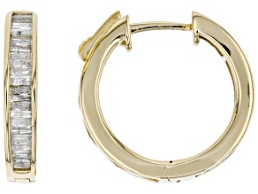 Pre-Owned White Diamond 10k Yellow Gold Hoop Earrings 0.75ctw