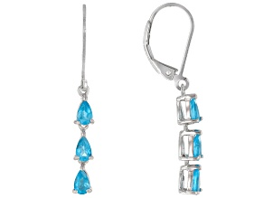 Pre-Owned Blue Neon Apatite Rhodium Over Sterling Silver Drop Earrings 1.02ctw