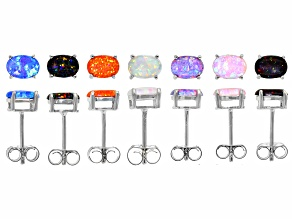 Pre-Owned Multi-Color Oval Lab Created Opal Rhodium Over Sterling Silver Set of Stud Earrings