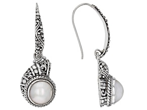 Pre-Owned White Cultured Mabe Pearl Silver Earrings