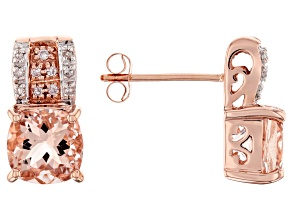 Pre-Owned Peach Morganite 10k Rose Gold Earrings 2.51ctw
