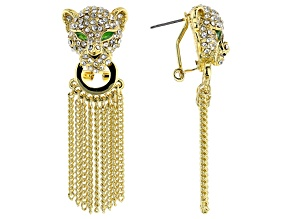 Pre-Owned Multicolor Crystal Gold Tone Jaguar Dangle Earrings