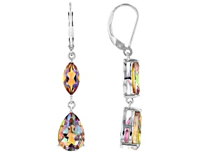Pre-Owned Multi-color  Northern Lights™ Quartz Rhodium Over Sterling Silver Dangle Earrings 6.26ctw
