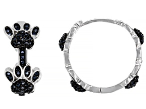 Pre-Owned Black Spinel Rhodium Over Sterling Silver Dog Paw Hoop Earrings 0.97ctw