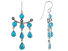 Pre-Owned Blue Turquoise Rhodium Over Sterling Silver Chandelier Earrings