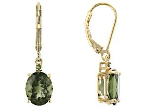 Pre-Owned Green Moldavite 18k Gold Over Sterling Silver Earrings 3.40ctw