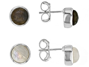 Pre-Owned Round Labradorite And Round Rainbow Moonstone Set of Two Sterling Silver Stud Earrings
