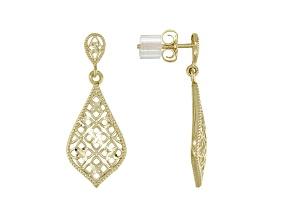 Pre-Owned 14K Yellow Gold Diamond-Cut Teardrop Filigree Dangle Earrings