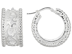 Pre-Owned Sterling Silver Art formed Etruscan Accent Squared Tube Hoop Earrings