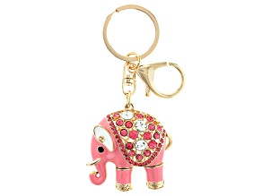 Pre-Owned Multi Color Crystal Gold Tone Elephant Key Chain
