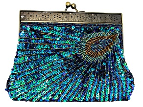 Pre-Owned Peacock Color Antique Toned Beaded Clutch