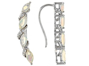 Pre-Owned Multicolor Ethiopian Opal Rhodium Over Sterling Silver Earrings 1.16ctw