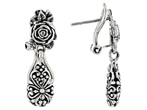 Pre-Owned Sterling Silver Rose Dangle Earrings