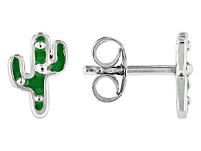 Pre-Owned Childrens Green Enamel Rhodium Over Silver Cactus Earrings