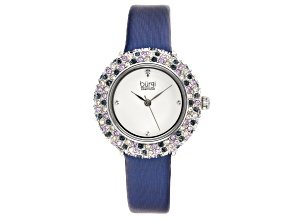 Pre-Owned Burgi™ Crystals From Swarovski™ and Leather Band Watch