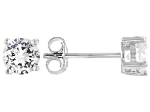 Pre-Owned White Cubic Zirconia Rhodium Over Sterling Silver Stud Earrings 1.58ctw