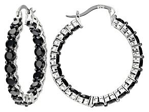 Pre-Owned Black Spinel Rhodium Over Sterling Silver Inside/Outside Hoop Earrings 10.80ctw