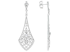 Pre-Owned White Cubic Zirconia Rhodium Over Sterling Silver Dangle Earrings 5.01ctw