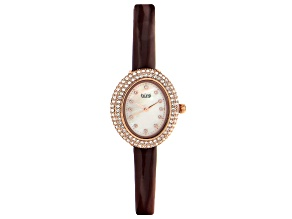Pre-Owned Burgi™ Crystals From Swarovski™ Rose Gold Tone Stainless Steel Dark Brown Patent Leather B