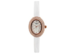 Pre-Owned Burgi™ Crystals From Swarovski™ Rose Gold Tone Stainless Steel White Patent Leather Band W