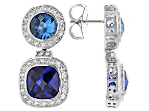 Pre-Owned Lab Light And Dark Blue Spinel And White Cubic Zirconia Rhodium Over Silver Earrings 13.69