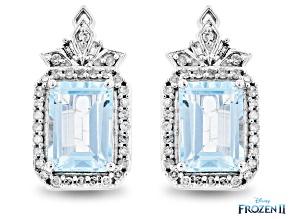 Pre-Owned Enchanted Disney Elsa Earrings Sky Blue Topaz And White Diamond 10K White Gold 1.25ctw