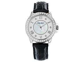 Pre-Owned White Cubic Zirconia Rhodium Over Brass Black Genuine Leather Ladies Wrist Watch 2.44ctw