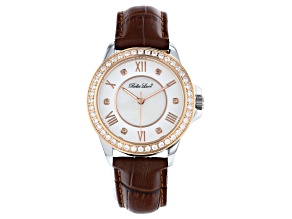 Pre-Owned White Cubic Zirconia Rhodium And 18K Rose Gold Over Brass Genuine Brown Leather Ladies Wri
