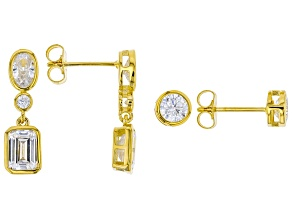 Pre-Owned White Cubic Zirconia 18K Yellow Gold Over Sterling Silver Earrings Set of 2 6.86ctw