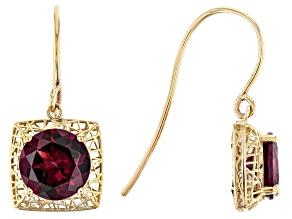 Pre-Owned Purple Garnet 10k Yellow Gold Filigree Earrings 3.12ctw