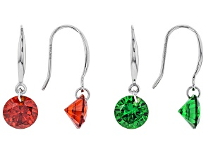Pre-Owned Red And Green Cubic Zirconia Rhodium Over Sterling Silver Earrings Set of 2 12.66ctw