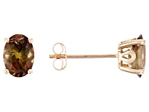 Pre-Owned Green Andalusite 10k Yellow Gold Stud Earrings 1.19ctw