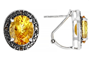 Pre-Owned Yellow Citrine Rhodium Over Silver Earrings 6.02ctw