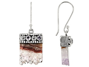 Pre-Owned Multicolor Amethyst Stalactite Silver Earrings 0.24ctw
