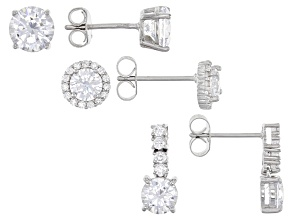 Pre-Owned White Cubic Zirconia Rhodium Over Sterling Silver Earrings Set 9.00ctw