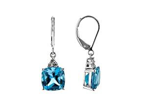 Pre-Owned London Blue Topaz Rhodium Over 10k White Gold Earrings 6.95ctw