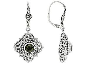 Pre-Owned Green Moldavite Sterling Silver Dangle Earrings 1.08ctw