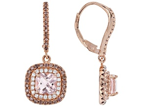 Pre-Owned Pink Morganite Simulant And Mocha And White Cubic Zirconia 18k Rose Gold Over Silver Earri
