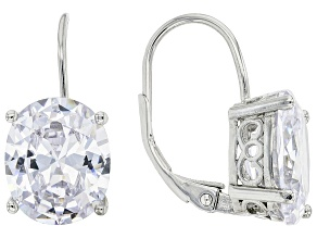 Pre-Owned White Cubic Zirconia Rhodium Over Sterling Silver Earrings 10.53ctw
