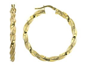 Pre-Owned 10K Yellow Gold 30MM Greek Torchon Tube Hoop Earrings