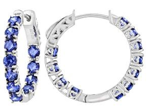 Pre-Owned Blue Cubic Zirconia Platinum Over Sterling Silver Hoop Earrings 7.45ctw