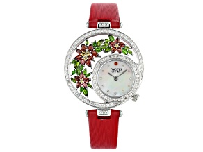 Pre-Owned Vermelho Garnet™ with multi-gemstone Mother of Pearl Dial Rhodium Over Brass Watch 5.56ctw