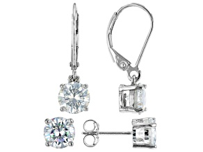 Pre-Owned Moissanite platineve(R) set of 2 pair solitaire earrings 4.00ctw DEW