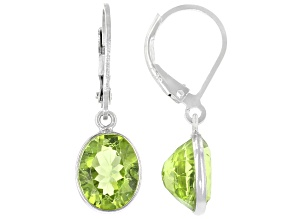 Pre-Owned Green Peridot Rhodium Over Sterling Silver Dangle Earrings 5.50ctw